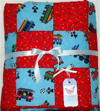 Bright Trains Baby Boy Quilt
